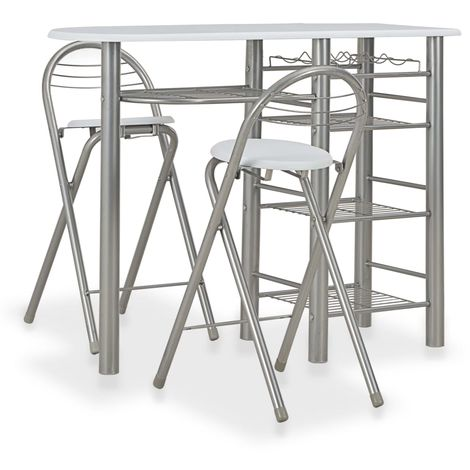 Hommoo 3 Piece Bar Set with Shelves Wood and Steel White VD24937