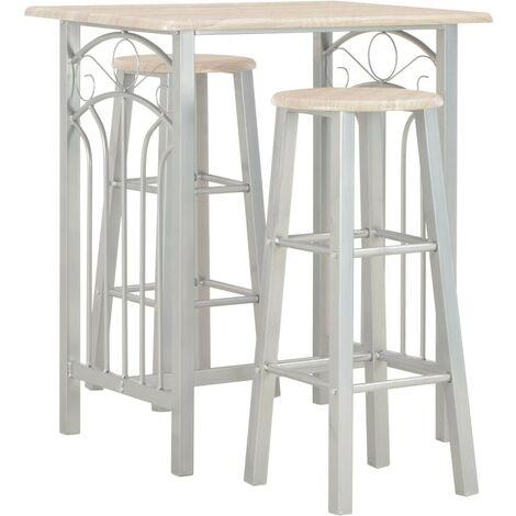 Hommoo 3 Piece Bar Set Wood and Steel
