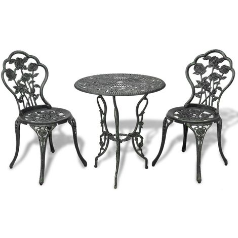Hommoo 3 Piece Bistro Set Cast Aluminium Green
