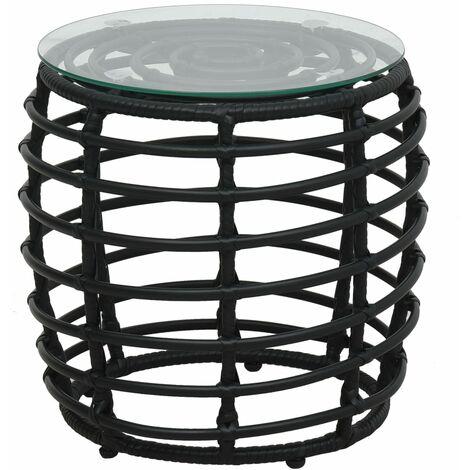 Hommoo 3 Piece Bistro Set Poly Rattan Black QAH46571
