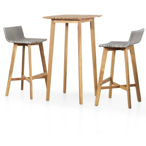 Hommoo 3 Piece Bistro Set Solid Acacia Wood