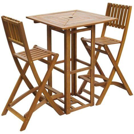 Hommoo 3 Piece Bistro Set Solid Acacia Wood VD27168