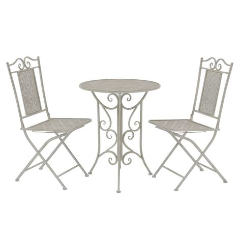 Hommoo 3 Piece Bistro Set Steel Grey VD27538