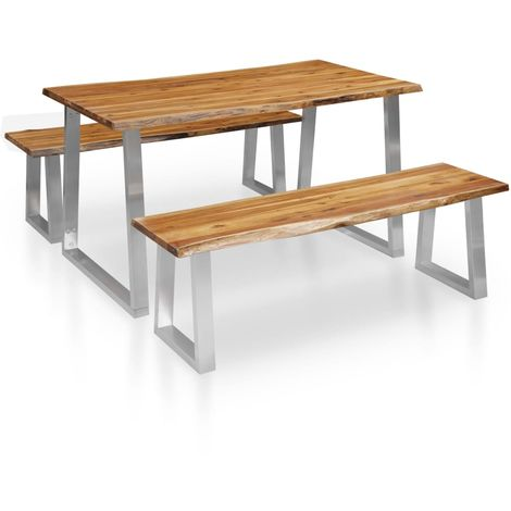 Hommoo 3 Piece Dining Set Solid Acacia Wood Brown VD36028