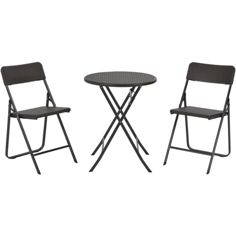 Hommoo 3 Piece Folding Bistro Set HDPE Brown Rattan Look QAH28747