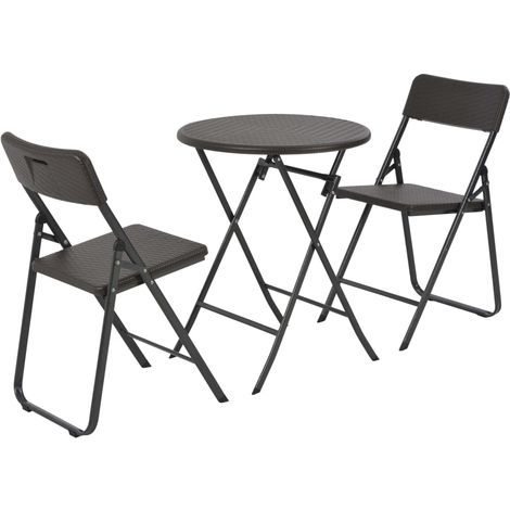 Hommoo 3 Piece Folding Bistro Set HDPE Brown Rattan Look VD28747
