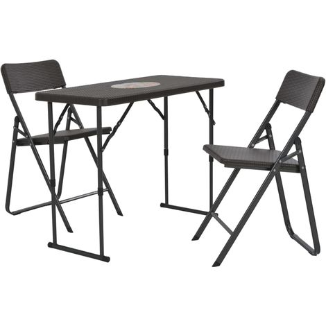 Hommoo 3 Piece Folding Bistro Set HDPE Brown Rattan Look VD28748