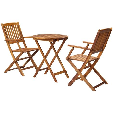 Hommoo 3 Piece Folding Bistro Set solid Acacia Wood