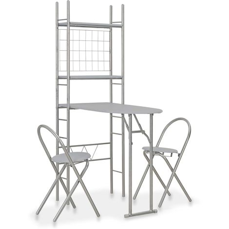Hommoo 3 Piece Folding Dining Set with Storage Rack MDF and Steel Grey