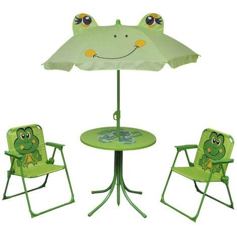 Hommoo 3 Piece Kids' Garden Bistro Set with Parasol Green VD26723