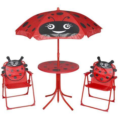 Hommoo 3 Piece Kids' Garden Bistro Set with Parasol Red VD26722