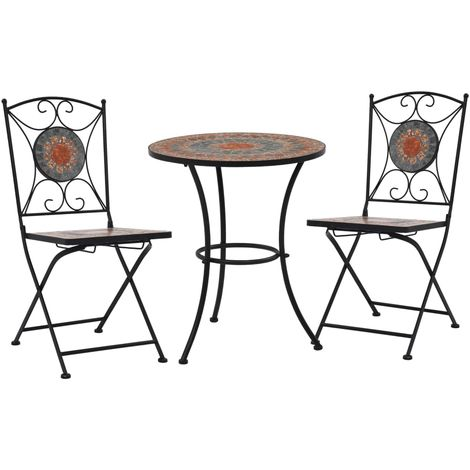 Hommoo 3 Piece Mosaic Bistro Set Ceramic Tile Orange/Grey VD36136