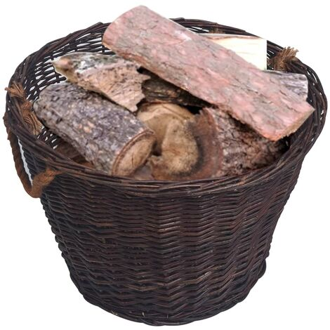Hommoo 3 Piece Stackable Firewood Basket Set Dark Brown Willow QAH37036