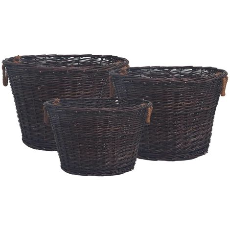Hommoo 3 Piece Stackable Firewood Basket Set Red Willow VD37036