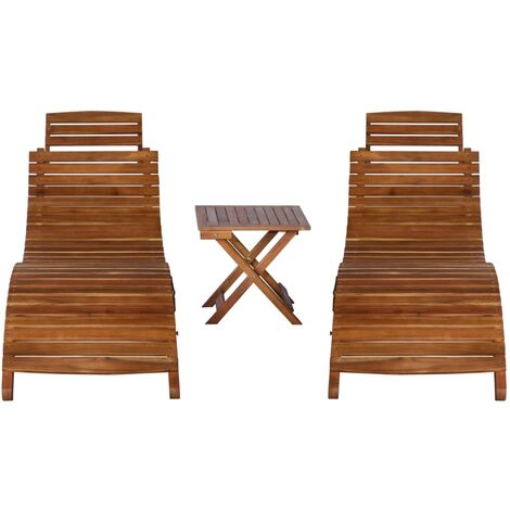 Hommoo 3 Piece Sunlounger with Tea Table Solid Acacia Wood QAH36116