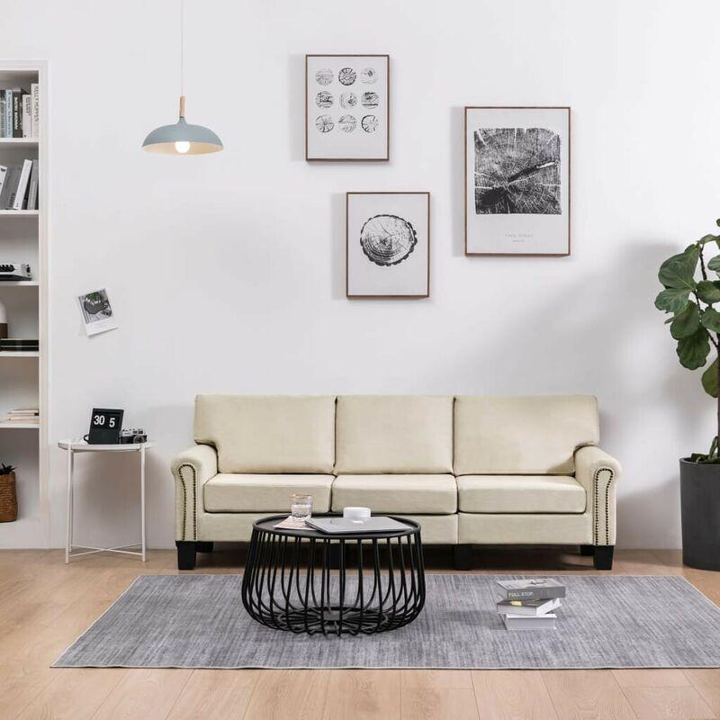 Hommoo 3-Sitzer-Sofa Creme Stoff VD37211