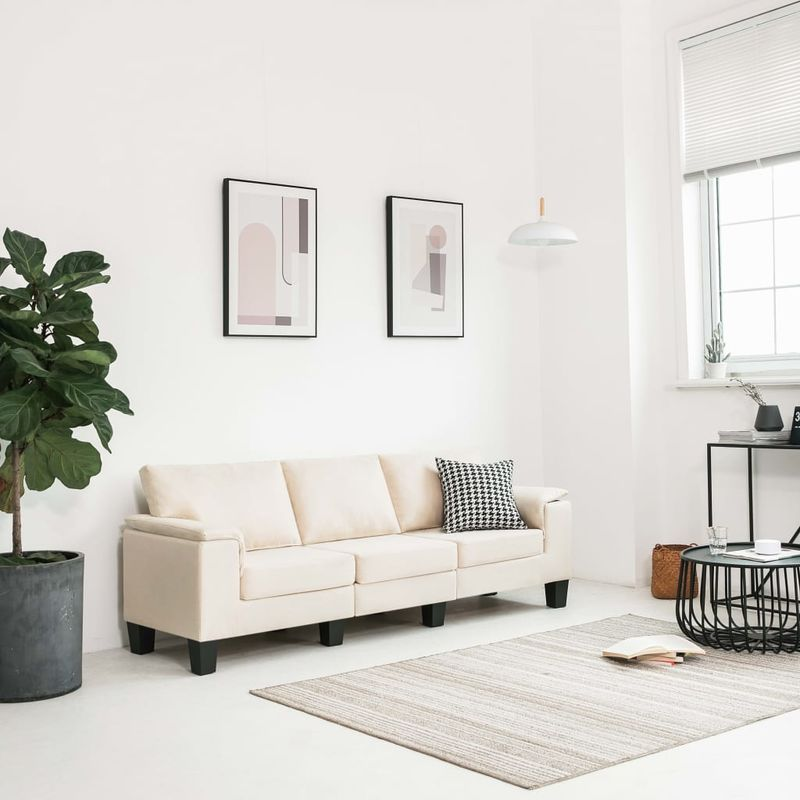 3-Sitzer-Sofa Cremeweiß Stoff VD33107 - Hommoo