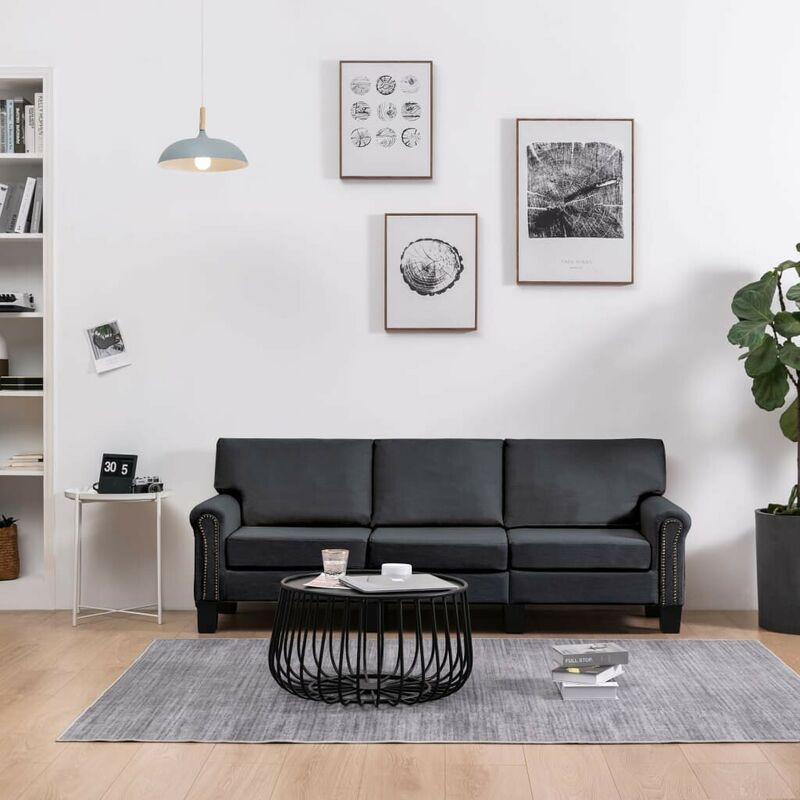 3-Sitzer-Sofa Dunkelgrau Stoff VD37210 - Hommoo