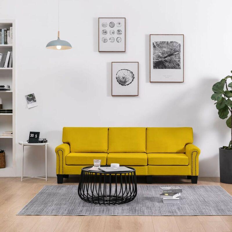 3-Sitzer-Sofa Gelb Stoff VD37216 - Hommoo