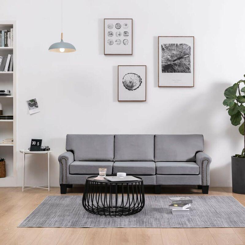 3-Sitzer-Sofa Hellgrau Stoff VD37209 - Hommoo