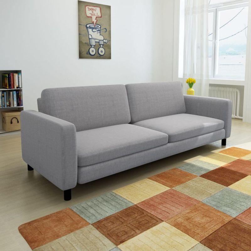 3-Sitzer-Sofa Hellgrau Stoff VD10436 - Hommoo