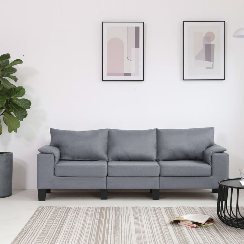 Hommoo 3-Sitzer-Sofa Hellgrau Stoff VD37130
