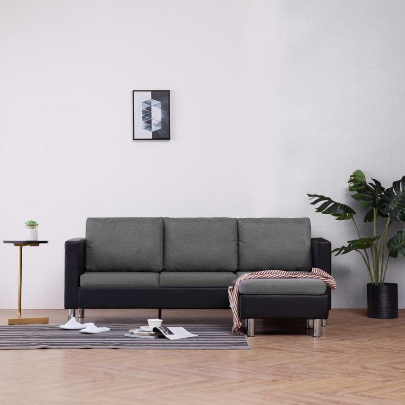 3-Sitzer-Sofa mit Kissen Schwarz Kunstleder VD23489 - Hommoo