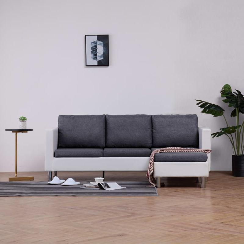 3-Sitzer-Sofa mit Kissen Weiß Kunstleder VD23488 - Hommoo