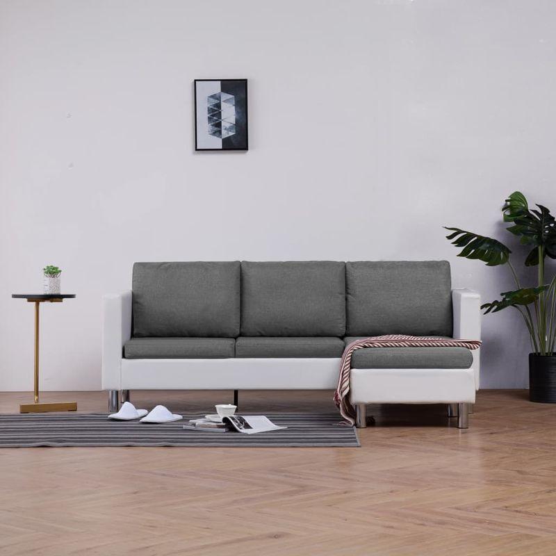 Hommoo 3-Sitzer-Sofa mit Kissen Weiß Kunstleder VD23487