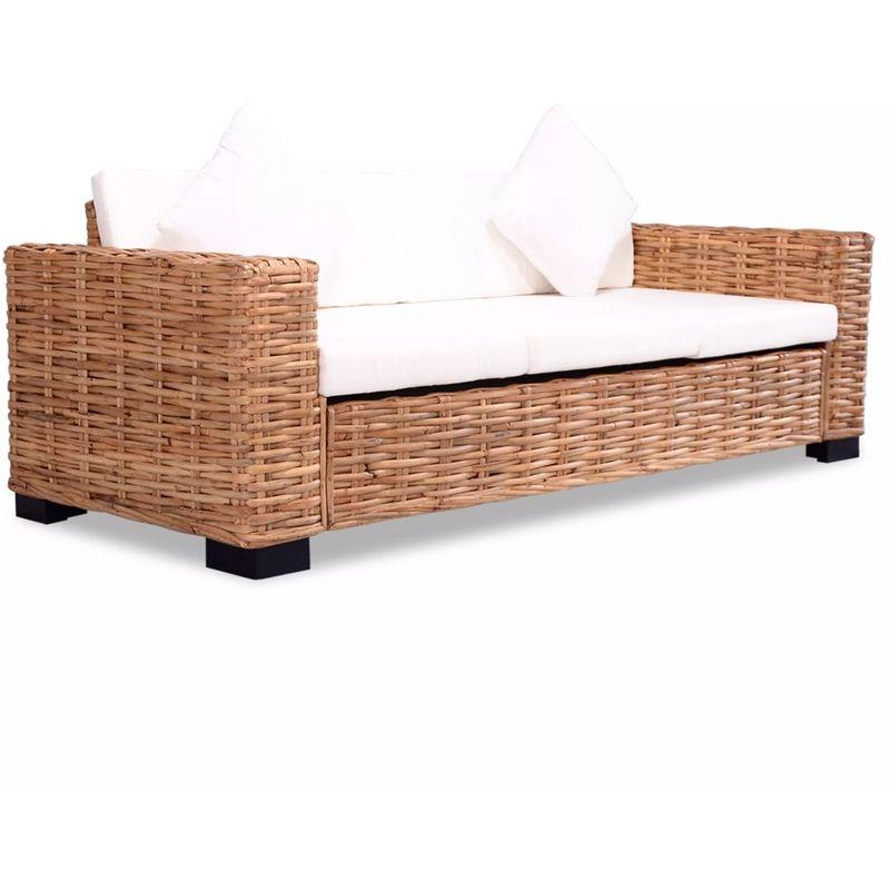 Hommoo 3-Sitzer-Sofa Natürliches Rattan VD10526