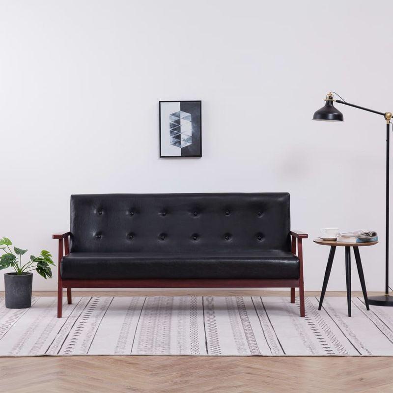 3-Sitzer-Sofa Schwarz Kunstleder VD14178 - Hommoo
