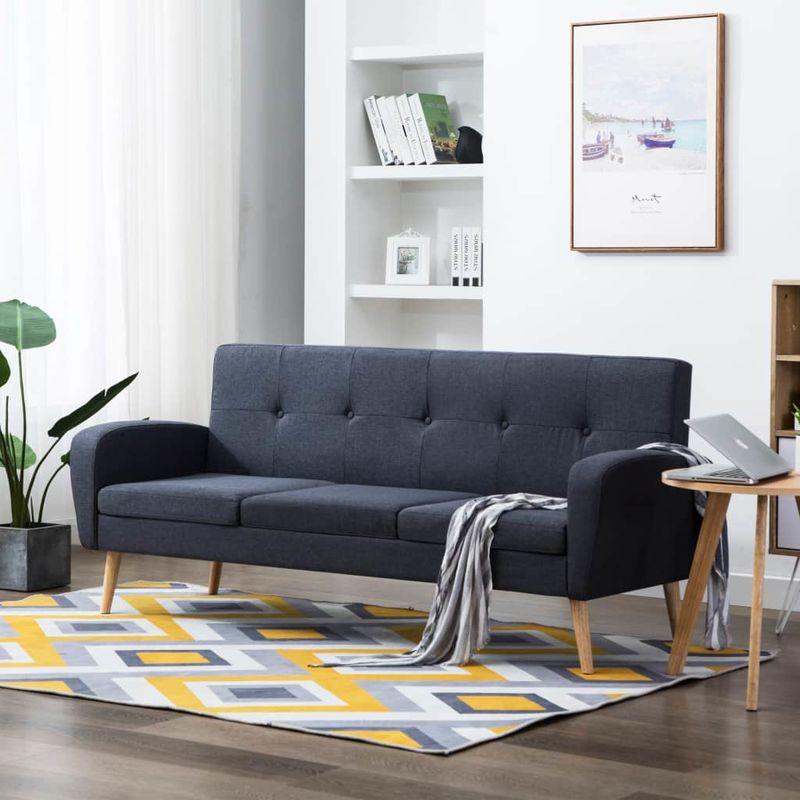 3-Sitzer-Sofa Stoff Dunkelgrau VD12905 - Hommoo