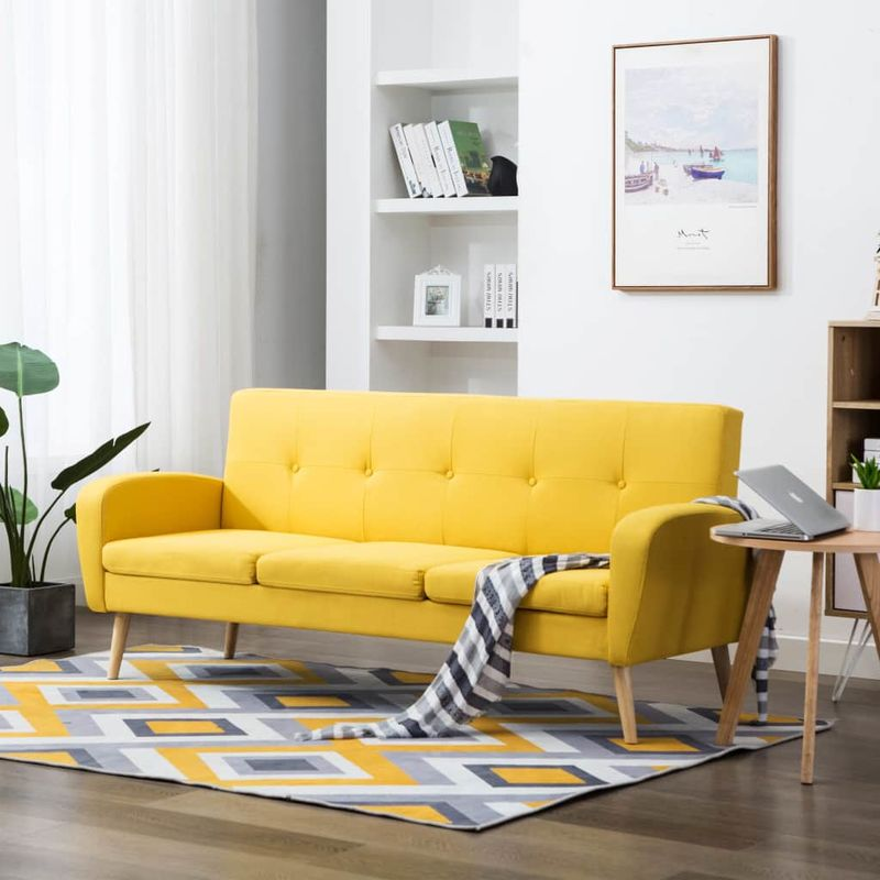 3-Sitzer-Sofa Stoff Gelb VD12907 - Hommoo