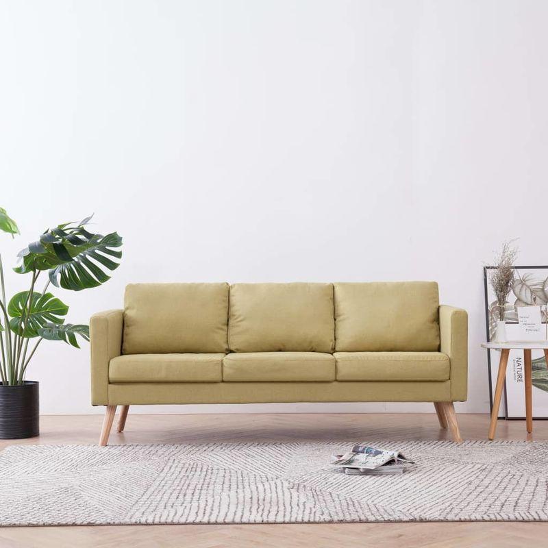 Hommoo 3-Sitzer-Sofa Stoff Grün VD22957