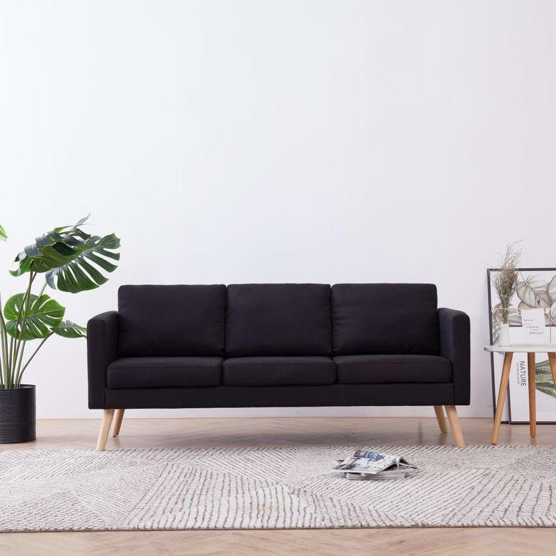 3-Sitzer-Sofa Stoff Schwarz VD22959 - Hommoo