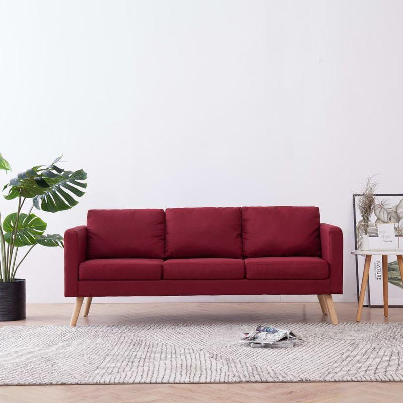 3-Sitzer-Sofa Stoff Weinrot VD22963 - Hommoo