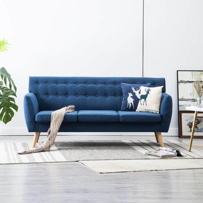 3-Sitzer-Sofa Stoffbezug 172x70x82 cm Blau VD13044 - Hommoo