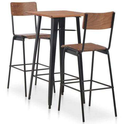 Hommoo 3-teiliges Bar-Set Stahl Weiß Schwarz