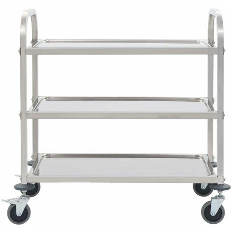 Hommoo 3-Tier Kitchen Trolley 107x55x90 cm Stainless Steel QAH30743