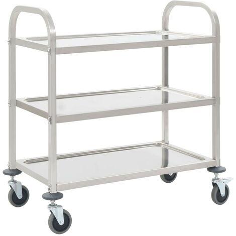 Hommoo 3-Tier Kitchen Trolley 107x55x90 cm Stainless Steel VD30743