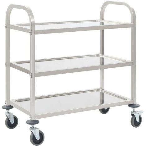 Hommoo 3-Tier Kitchen Trolley 87x45x83.5 cm Stainless Steel VD30744
