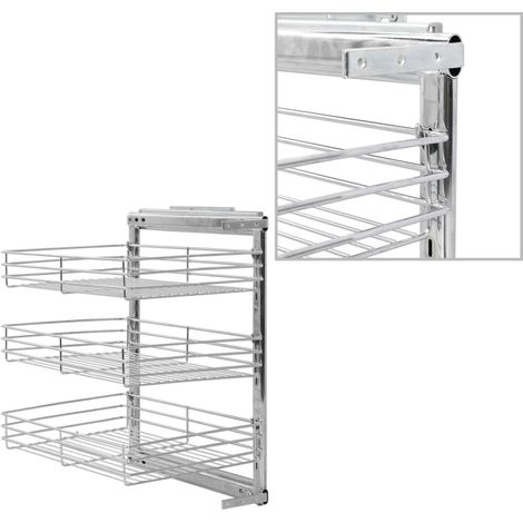 Hommoo 3-Tier Pull-out Kitchen Wire Basket Silver 47x35x56 cm VD30788