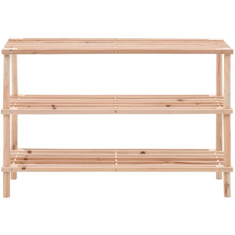 Hommoo 3-Tier Shoe Rack Solid Fir Wood QAH25444