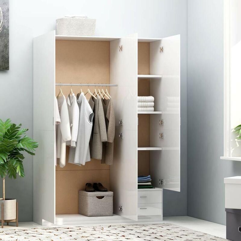 3-türiger Kleiderschrank Hochglanz-Weiß 120x50x180cm Spanplatte VD47188 - Hommoo