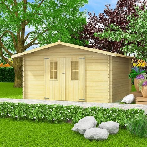 Hommoo 34 mm 4x4 m Garden House Shed Log Timber Cabin Solid Wood