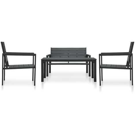 Hommoo 4 Piece Garden Lounge Set HDPE Black Wood Look