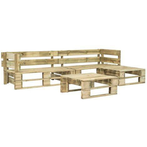 Hommoo 4 Piece Garden Lounge Set Pallets FSC Wood Green VD19135