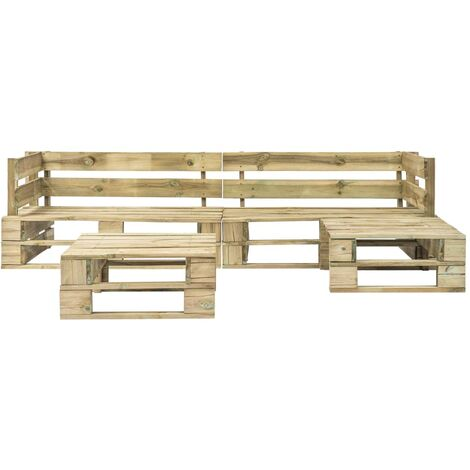 Hommoo 4 Piece Garden Lounge Set Pallets Wood QAH19135