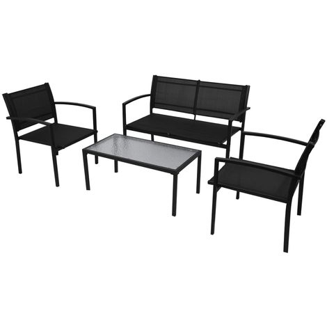 Hommoo 4 Piece Garden Lounge Set Textilene Black