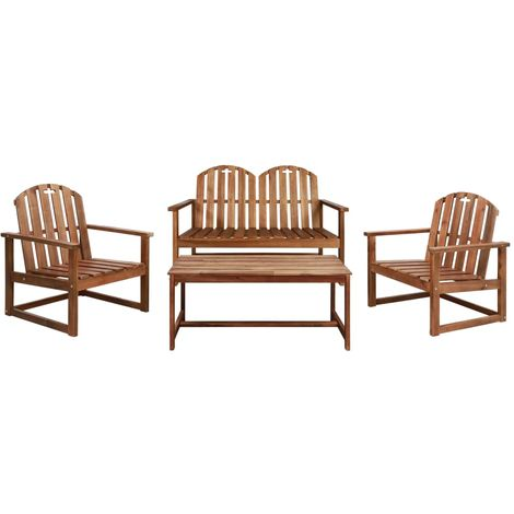 Hommoo 4 Piece Outdoor Lounge Set Solid Acacia Wood